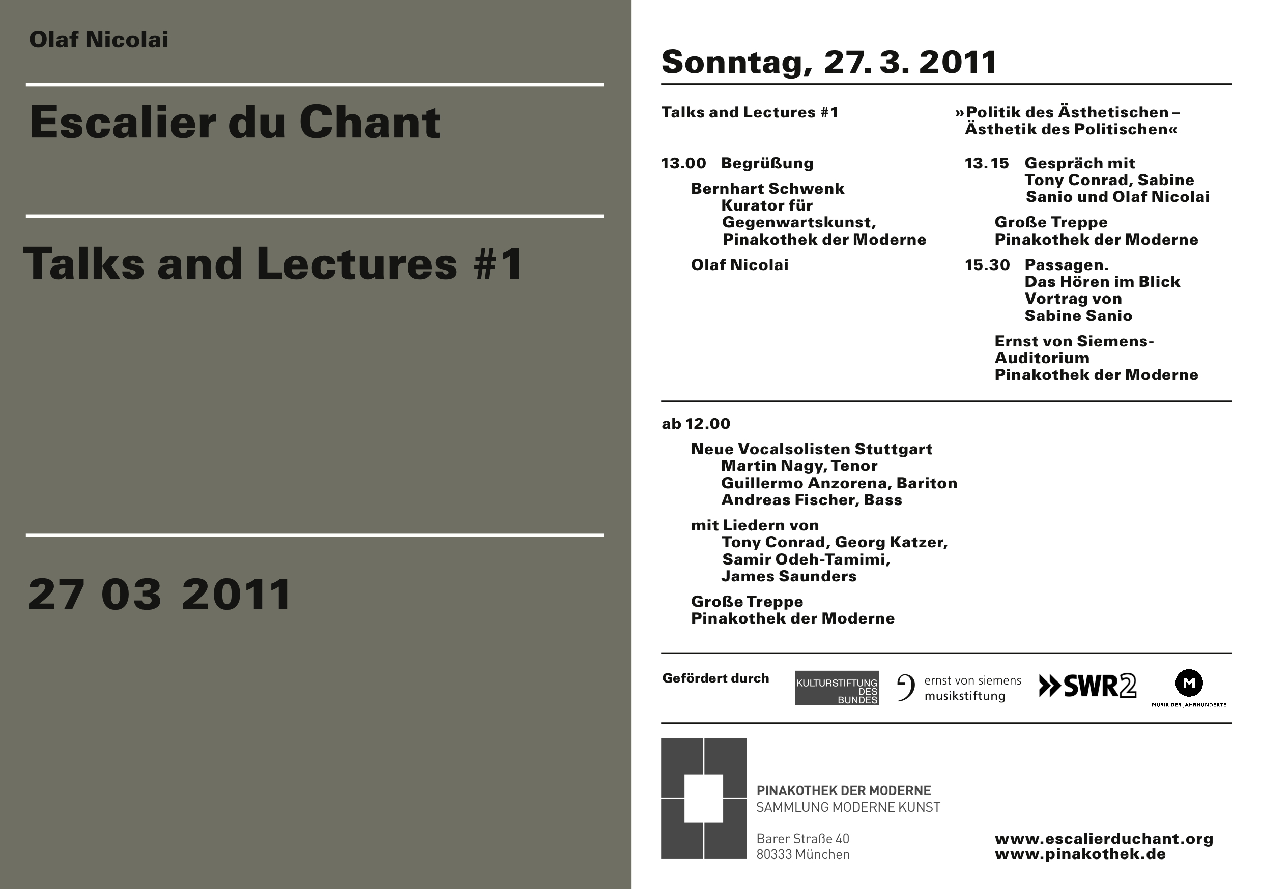 Escalier du Chant, Talks and Lectures